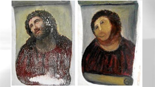 Бабушка отреставрировала старинную фреску Сама и без фотошопа и помощи мистера Бина