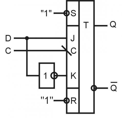 Из D триггера можно сделать T триггер, асинхронный RS триггер с инверсными входами и асинхронный RS триггер с не...
