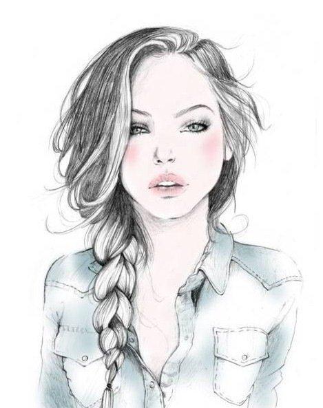 рисунок девушки поэтапно: