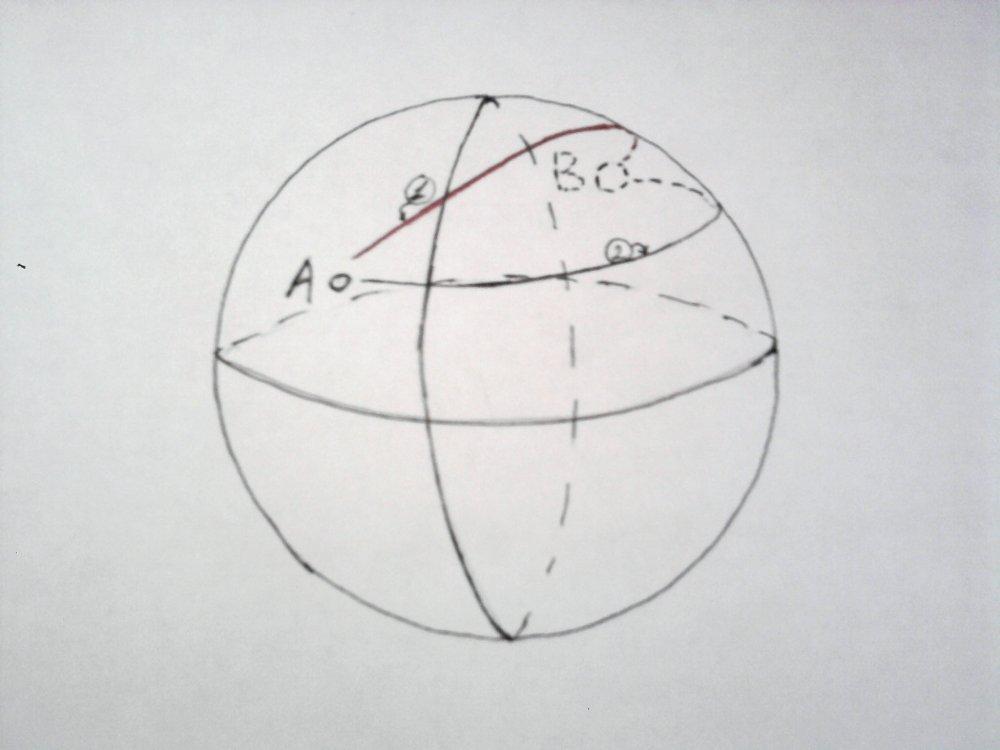 """Я схематично набросал... в общем в реальности из точки  """"А """" в точку  """"В """" (которая находится на невидимой нам грани)..."""