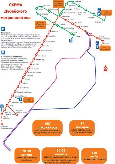 Схема метро Дубая) .