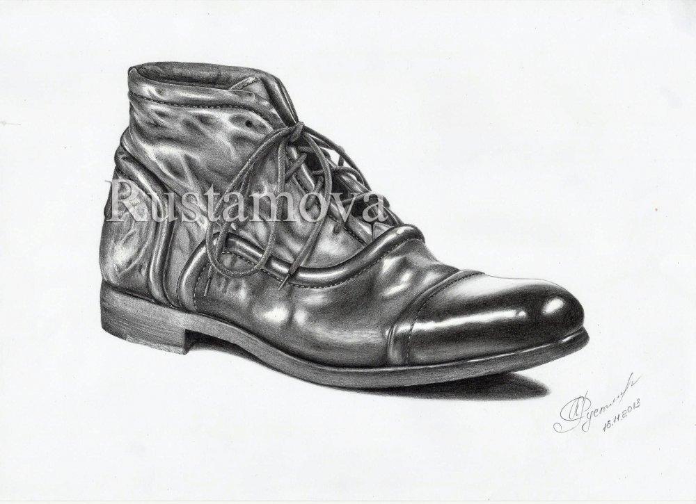 рисунки карандашом туфли: