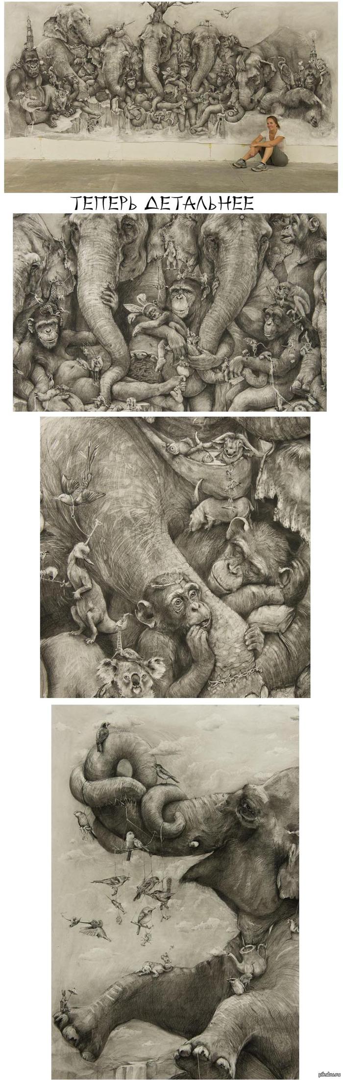 рисунок слона карандашом:
