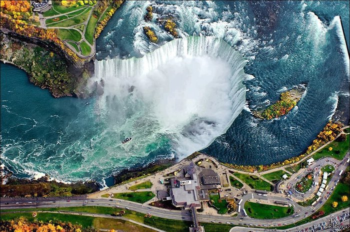 Ниагарский водопад видимо со спутника