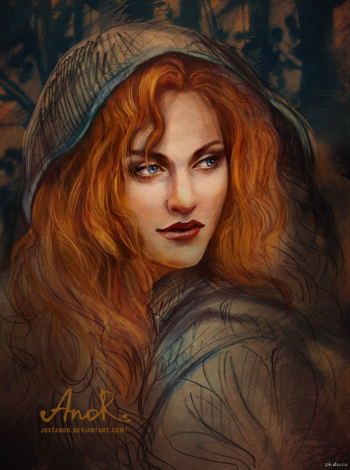 рисунок рыжая девушка: