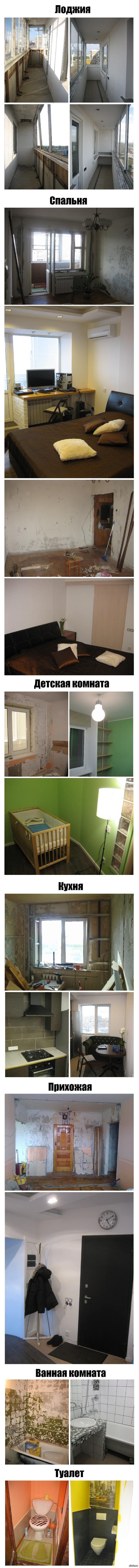 """Сделал ремонт в квартире... ...все сам, как говорится """"без родителей и кредитов"""", сделал за 2 года, потратили около 650.000 руб. На фото: до и после.  ремонт, длинопост"""