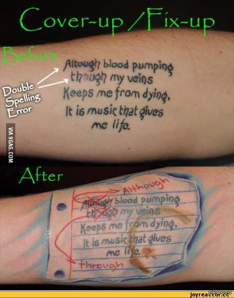 Исправляем татуировки правильно. via 9gag
