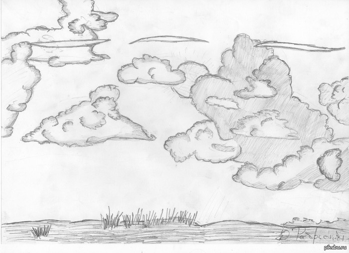 Небо нарисовано карандашом