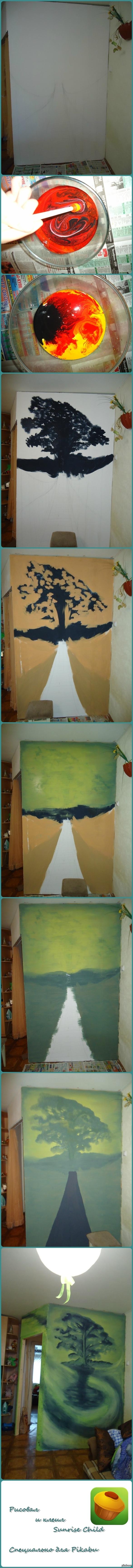 """Длинный пост. Про то как я """"изуродовал"""" стенку в квартире. Сначала я эту стенку построил, потом решил, что будет скучно. И нарисовал на ней, зеленое пятно =)"""