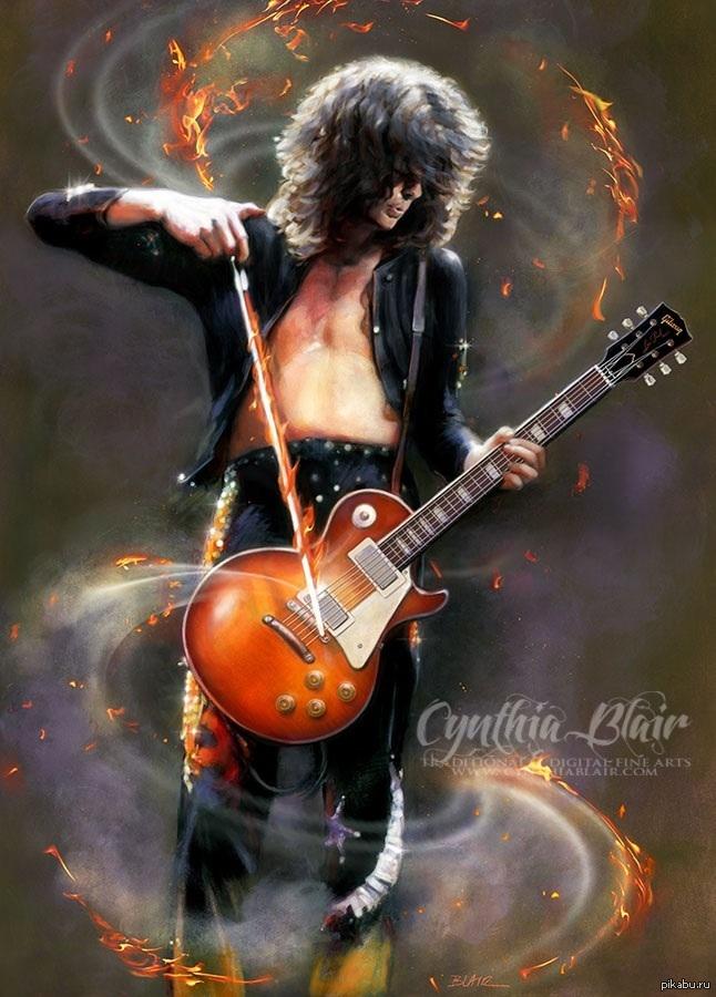 Просто красивый арт с Джимми Пэйджем из Led Zeppelin