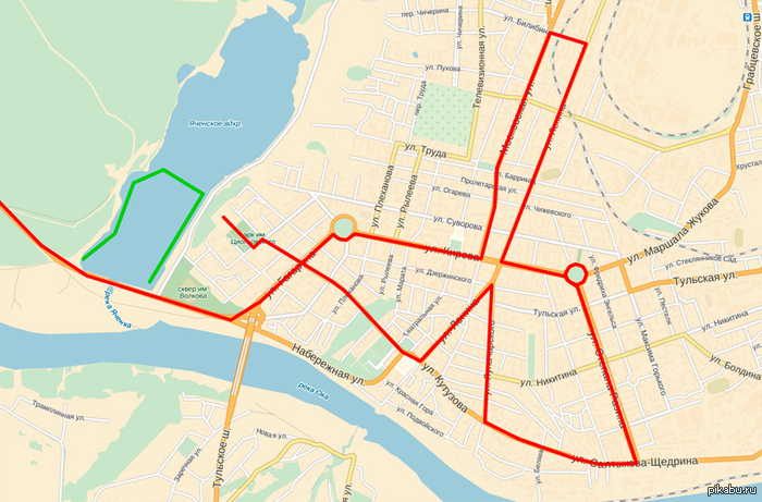 Херовая эстафета Схема движения олимпийского огня по Калуге.