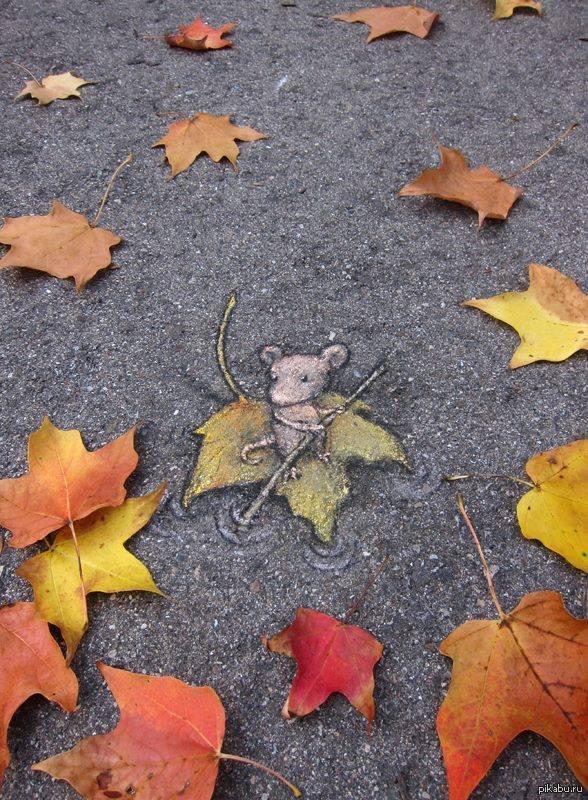 Осенний стрит-арт   стрит-арт, осень, листья
