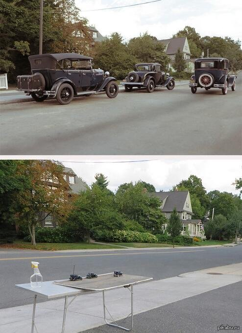 """""""Моя коллекция ретро автомобилей"""" главное правильно сфотографировать :)  Фото, прикол, авто, Ракурс, не мое"""
