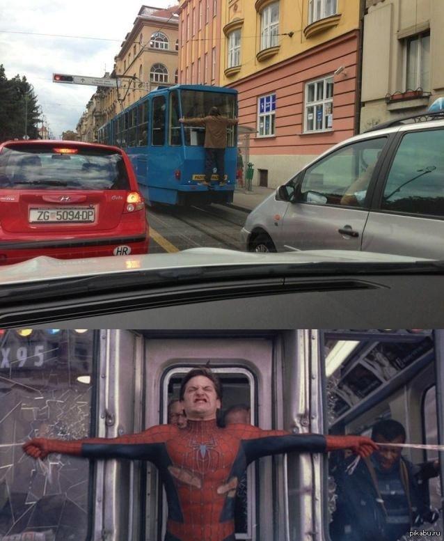 Человек паук питер паркер трамвай