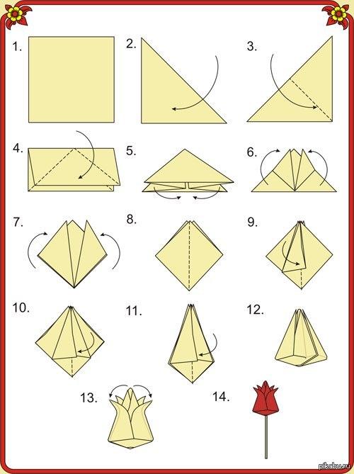 красивые оригами из бумаги цветы схемы