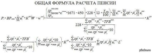 формула расчёта пенсии фото