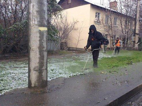 Первый снег 3 декабря в Краснодаре выпал первый снег! Коммунальные службы вышли на покос травы) Краснодар - город контрастов!