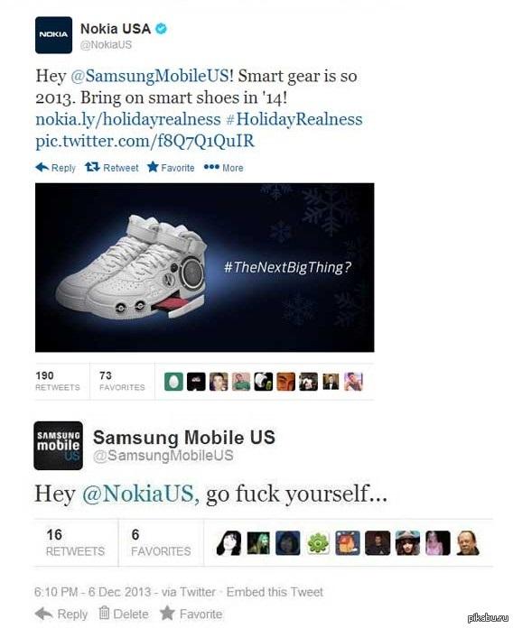Корпоративная этика Переписка в твиттере Nokia и Samsung