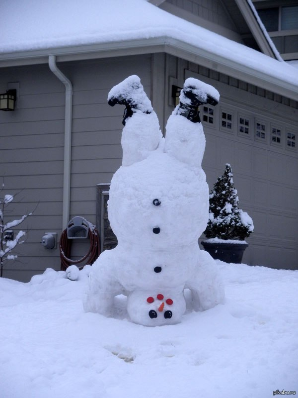 Фото снеговиков из снега своими руками