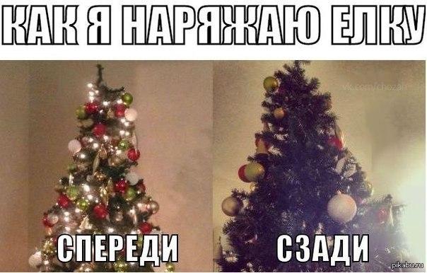 Серая кошка уронила елку