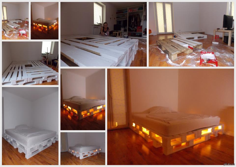Кровать из поддонов с подсветкой своими руками