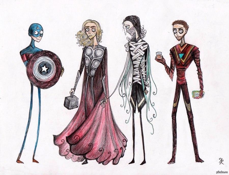 рисунки героев: