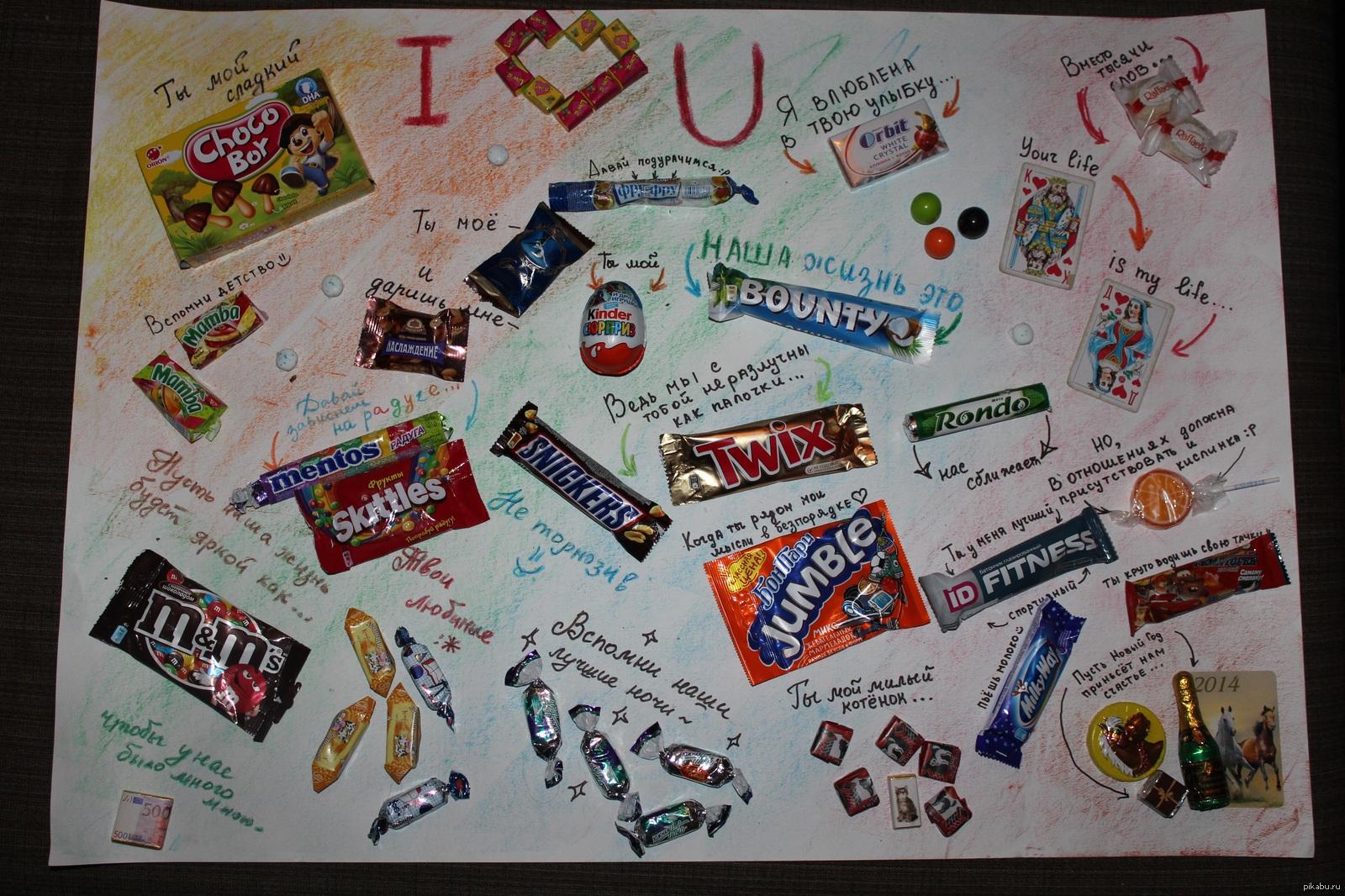 Как сделать плакат из конфет на день рождения подруге