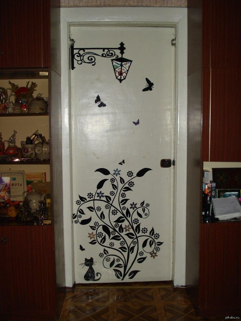 Фото декора белых дверей своими руками